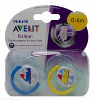Lucan Pharmacy AVENT Fashion Designs Orthodontic Soothers 0-6 Mths (2 Pack)