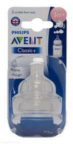 Lucan Pharmacy AVENT Classic + Teats Variable Flow 3 Mnth+ (2 Pack)