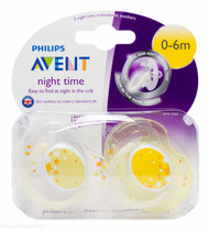 Lucan Pharmacy  AVENT Night time Orthodontic Soothers 0-6 Mths (2 Pack)