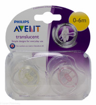 Lucan Pharmacy  AVENT Translucent Orthodontic Soothers 0-6 Mths (2 Pack)