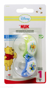 Lucan Pharmacy NUK® Disney Winnie The Pooh Orthodontic Silicone Soothers (2 Pack ) - 0-6mths (Blue/Green)