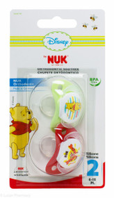 Lucan Pharmacy NUK® Disney Winnie The Pooh Orthodontic Silicone Soothers (2 Pack) – 6-18mths (Red/Green)