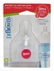 Lucan Pharmacy Dr. Brown's Natural Flow® Wide Neck Silicone Teats Level 1 (0m+) 2 Pack