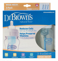 Dr. Brown's Natural Flow Wide Neck 240ml Bottles 3 Pack - 0mths+