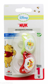 Lucan Pharmacy NUK® Disney Winnie The Pooh Orthodontic Silicone Soothers (2 Pack) - 0-6mths (Red/Green)