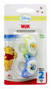 Lucan Pharmacy NUK® Disney Winnie The Pooh Orthodontic Silicone Soothers (2 Pack) - 6-18mths (Blue/Green)