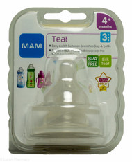 Lucan Pharmacy  MAM Teat 3 Fast Flow Silk Teat® 4+ Months - Pack of 2
