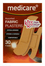 Lucan Pharmacy Medicare+® Assorted Fabric Plasters In 4 Sizes - 30 Pack