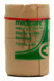Lucan Pharmacy Medicare+® Elastic Crepe Bandage - 7.5cm x 4.5m