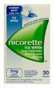 Nicorette® 2mg Medicated Chewing Gum  - Icy White (30 Pieces)