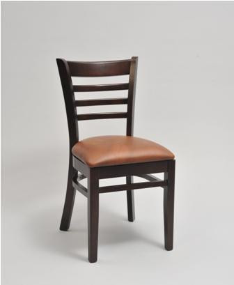 Ladder Back Wood Chair In Mahogany Wood Frame Finish And Saddle Vinyl  Upholstered Seat | Seats