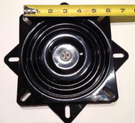 """Our Replacement Flat ( No Pitch ) Bar Stool Swivel Plates are for bar stools and chairs with backless seats. These replacement plates feature a black powder-coat finish, 12 gauge steel, and are pre-lubed, 3/4"""" thick, and are made in the United States."""
