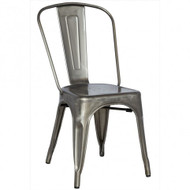 Sold in sets of four, our French Inspired Industrial Chic Side Chair is stackable, suitable for indoor and outdoor use, and is available in gunmetal, silver, black, copper and white. Pictured in gunmetal.
