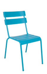 """The Steel Ladder Back Outdoor Chair (shown in blue) provides a modern look with a pop of color. Features include: - Available in black, blue, and green powder-coat finish -Commercial grade -For indoor and outdoor use -Stackable for convenience -Seat height 18""""."""