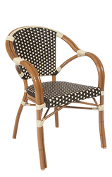 """This chair sports a sturdy aluminum frame with poly-woven wicker, and can be used inside or outside. Additional information: glides are included and seat height is 18""""."""