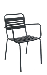 This outdoor armchair in black features a powder-coated steel frame for durability and stackable build for convenience.