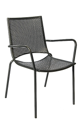 This outdoor armchair is stackable and features a sturdy iron frame with punched hole mesh seat and back. This chair is perfect for restaurant, bar or home use.