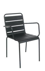 This outdoor steel armchair in black features a powder-coated finish and stackable build. This chair is a convenient and stylish addition to your home, restaurant or bar.