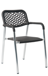 This outdoor armchair is perfect for patio seating. Features Include: Durable Aluminum Frame for Outdoor and Commercial Use and Synthetic Wicker Exterior.