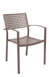 This aluminum frame outdoor armchair features: Two Arms for Comfort and Support, Open Back, Powder Coating in Rust Color, Perforated Back and Seat, and Aluminum Frame to Endure Outdoor Commercial Use.