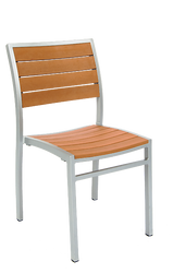 This side chair is cool enough for summer with an aluminum frame and imitation teak slats. Built to endure outdoor home or commercial use.