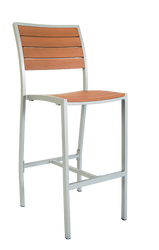 This bar stool is cool enough for summer with an aluminum frame and imitation teak slats. Built to endure outdoor home or commercial use.