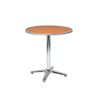 "Furnish your outdoor dining area with our Loyola table. Features include: aluminum frame, round top, 30"" bar height, and imitation teak slats top. Perfect for home or commercial outdoor use."