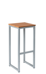 """You can't go wrong with our 30"""" Southport outdoor bar stool, featuring: aluminum frame, silver finish, and imitation teak slats seat. Built to withstand outdoor use and perfect for home or restaurant use."""