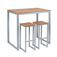 """Our 30"""" x 45"""" Bissell aluminum bar table features an imitation teak slats top and is built to withstand outdoor use, making it ideal for your home or restaurant patio dining area. (Bar stools sold separately.)"""