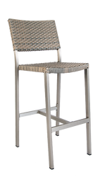 Diversey outdoor aluminum bar stool with imitation rattan seat and back, commercial or home use.