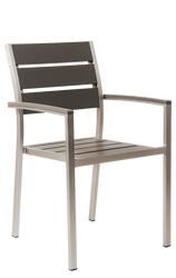 Belmont outdoor aluminum armchair with imitation teak slats top for commercial or home use.