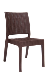 Furnish your outdoor seating area this summer with our wicker-look resin chair in brown color. This versatile, stylish chair is perfect for your home deck or restaurant patio.