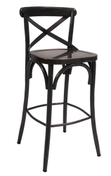"30"" black metal bar stool for indoor commercial or residential use."