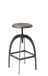 Indoor industrial steel bar stool with archway legs and adjustable seat height for commercial or residential use.