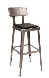 Vintage-style indoor steel barstool in clear-coating finish, with black vinyl cushion for home, restaurant or bar seating area.