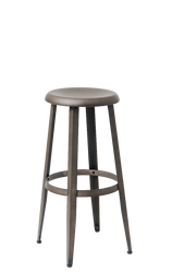 Round-Seated Steel Barstool in Gun Color Coating, backless, for indoor commercial or residential use | Seats and Stools