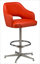 Open Back Club Bucket Bar Stool - orange vinyl | Seats and Stools