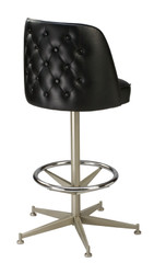 Tufted Mid Height Bucket Stool - 5-legged anodized nickel base (back) | Seats and Stools