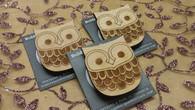 Funky Wooden Brooch - Owl
