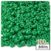 Pony Beads, Opaque, 6x9mm, 100-pc, Emerald green