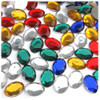 Flatback Rhinestones, Faceted Oval, 10x14mm, 72-pc, Mixed Colors