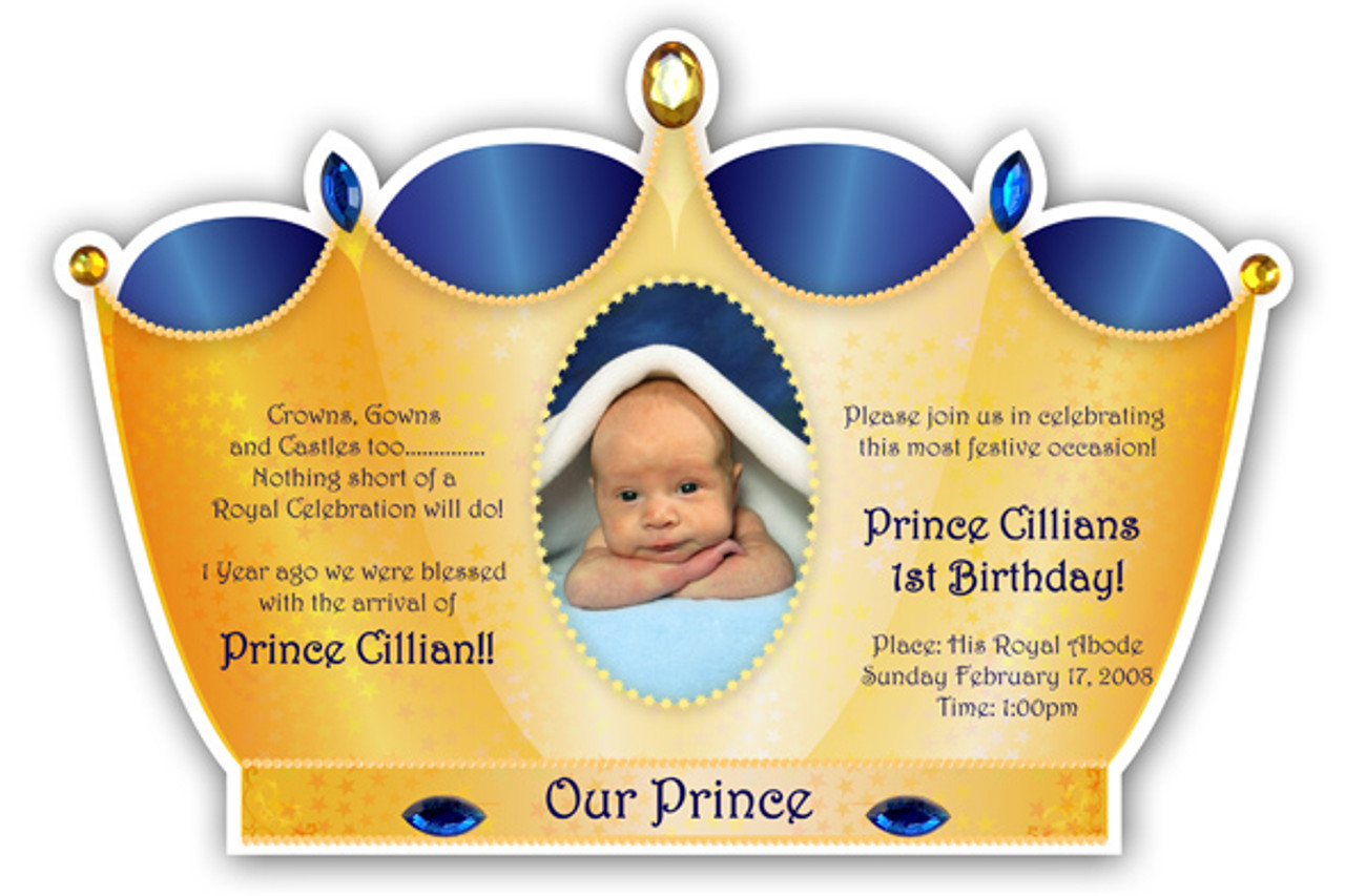 Prince Crown Invitation Golden with Royal BLue Prince crown – Little Prince Birthday Invitations