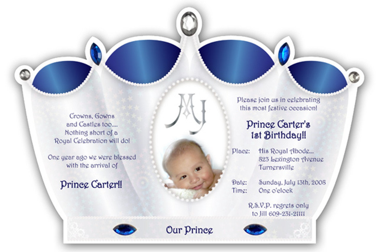 Prince Crown Invitation Silver with Royal Blue – Little Prince Birthday Invitations