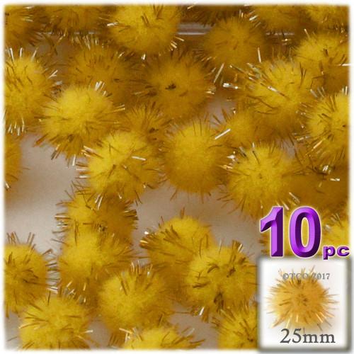 Pom Pom, 25mm-, 10-pc, Yellow