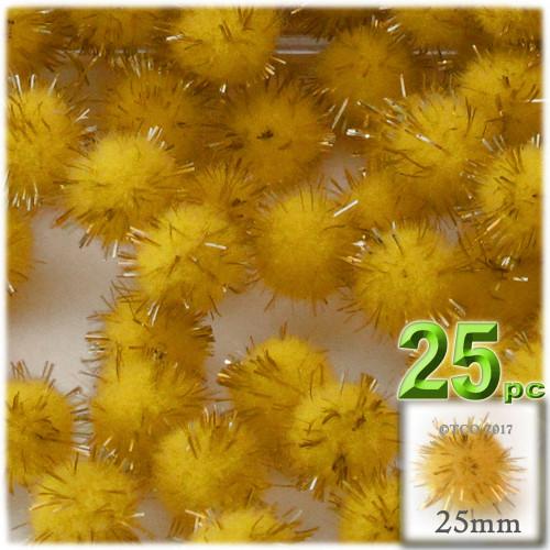 Pom Pom, 25mm-, 25-pc, Yellow