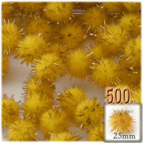 Pom Pom, 25mm-, 500-pc, Yellow