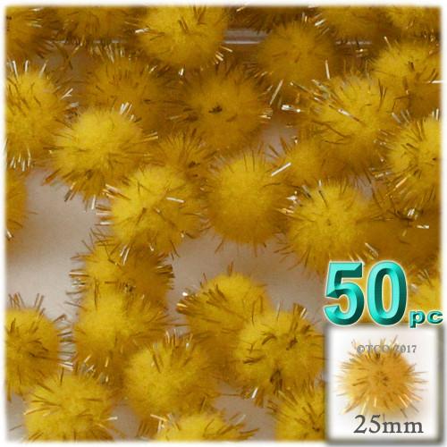 Pom Pom, 25mm-, 50-pc, Yellow