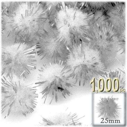 Pom Pom, 25mm-, 1,000-pc, White