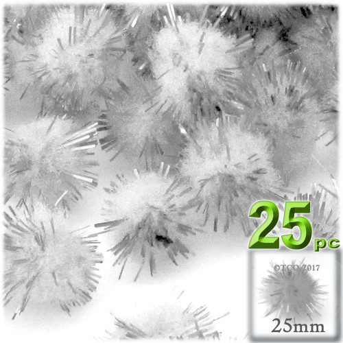 Pom Pom, 25mm-, 25-pc, White