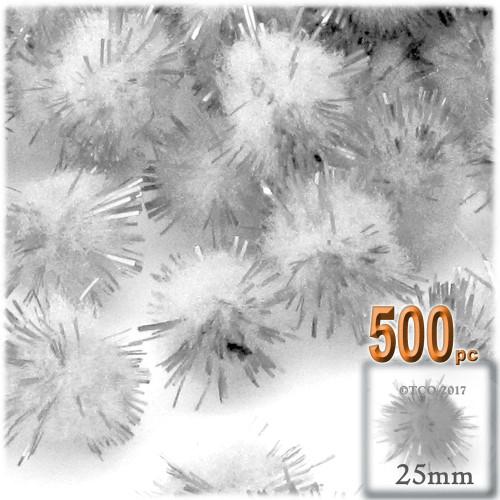Pom Pom, 25mm-, 500-pc, White